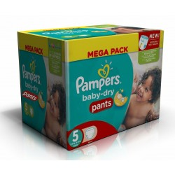 Mega pack 168 Couches Pampers Baby Dry Pants taille 5 sur 123 Couches