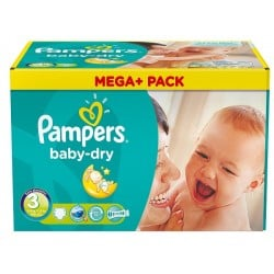 Mega pack 114 Couches Pampers Baby Dry taille 3
