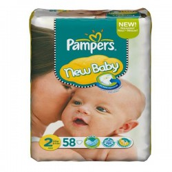 Pack de 58 Couches Pampers New Baby de taille 2 sur 123 Couches