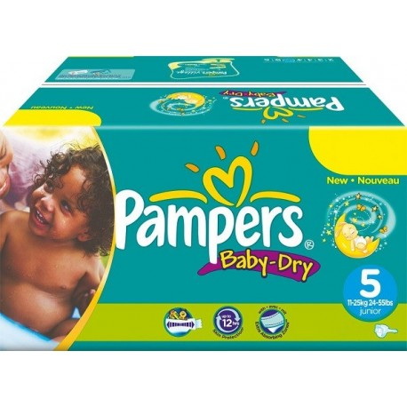 Maxi mega pack 484 Couches Pampers Baby Dry taille 5 sur 123 Couches