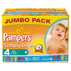 Pack 44 Couches Pampers Simply Dry taille 4 sur 123 Couches
