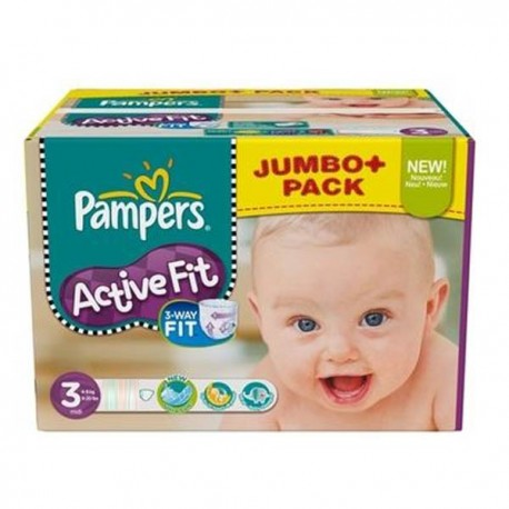 Maxi mega pack 408 Couches Pampers Active Fit taille 3 sur 123 Couches
