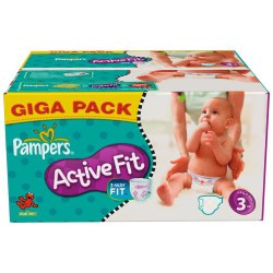 612 Couches Pampers Active Fit taille 3 sur 123 Couches