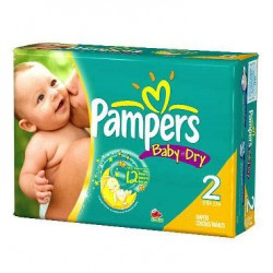 Pack 99 Couches Pampers Baby Dry taille 2 sur 123 Couches