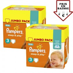Maxi giga pack 390 Couches Pampers Sleep & Play taille 4 taille 3