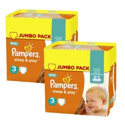 Pack jumeaux 624 Couches Pampers Sleep & Play taille 3