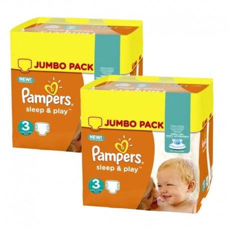 Pack jumeaux 702 Couches Pampers Sleep & Play taille 3 sur 123 Couches