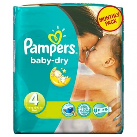 Pack 78 Couches Pampers Baby Dry taille 4 sur 123 Couches
