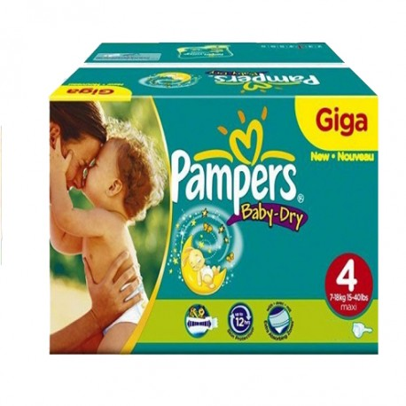 Pack jumeaux 702 Couches Pampers Baby Dry taille 4 sur 123 Couches