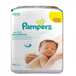 Pack économique 200 Lingettes Bébés Pampers New Baby Sensitive - 4 Packs de 50 sur 123 Couches